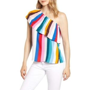 Gibson One-Shoulder Ruffle Striped Multicolor Top